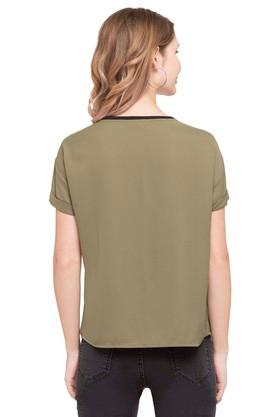 Womens Round Neck Embellished Solid Top