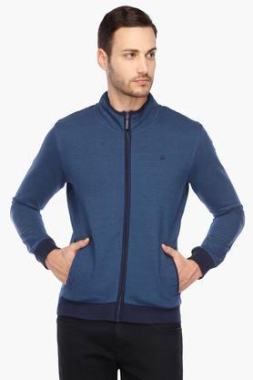 UNITED COLORS OF BENETTONMens Zip Through Neck Slub Sweatshirt
