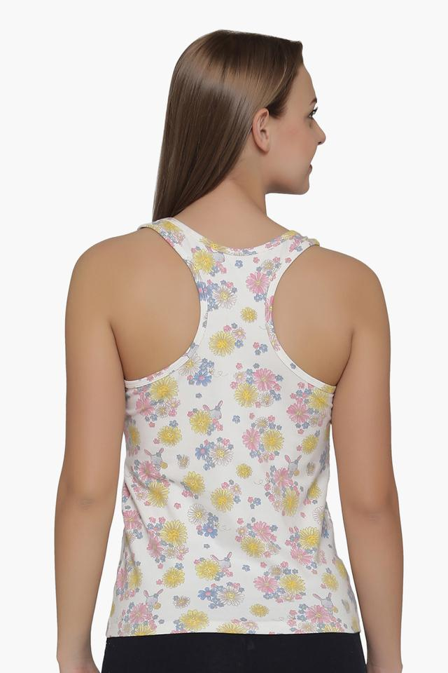 Womens Round Neck Floral Print Camisole