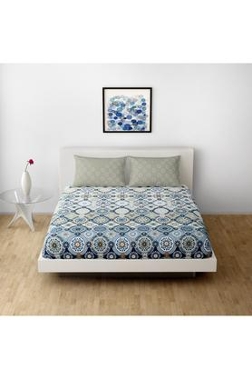 SPACESCotton Printed Double Bedsheet With 2 Pillow Covers - 203257373_9900