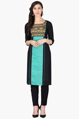 AURELIA Womens Round Neck Colour Block Printed Kurta - 202957362