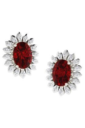 SILVER IMPRESSION Sparkles 18 Kt 0.16 Cts Diamond & 1.8 Cts Ruby Earrings - T12438