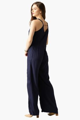Womens V-neck Solid Jumpsuit