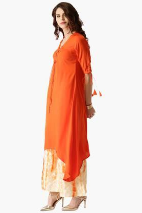 LIBAS Womens Crepe Kurta With Chanderi Palazzo