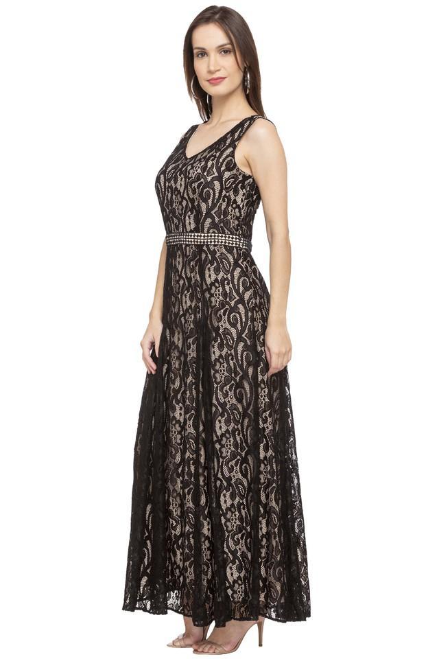 Womens V Neck Lace Maxi Dress