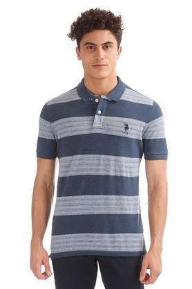 Mens Slim Fit Striped Polo T-Shirt