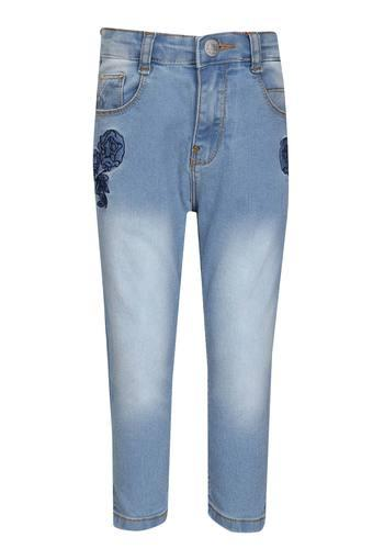 Girls 5 Pocket Heavy Wash Embroidered Jeans