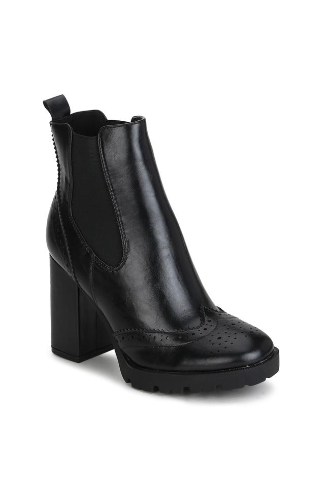 Womens Slip On Chunky Block Heeled Ankle Boots