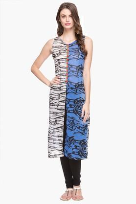 RS BY ROCKY STAR Womens Round Neck Printed Kurta - 202680669