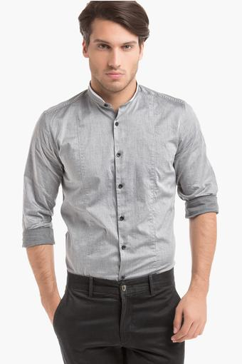 Mens Slim Fit Band Collar Solid Shirt