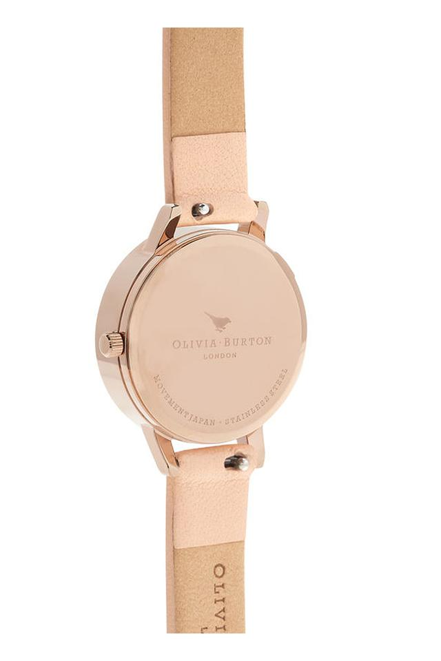 Womens Floral Round Dial Leather Analogue Watch - OB16EG98W