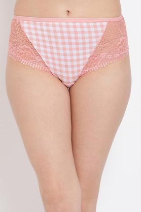 Womens Mid Waist Checked Hipster Briefs