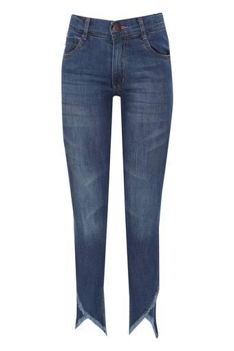 Girls 5 Pocket Mild Wash Frayed Jeans