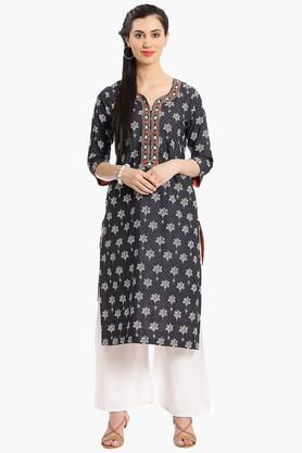 BIBA Women Straight Cotton Suit Set - 202981537