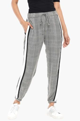 Womens 2 Pocket Checked Joggers