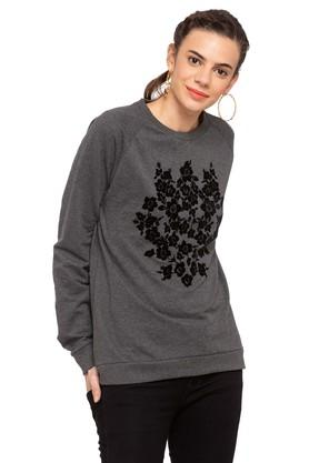 RS BY ROCKY STAR Womens Round Neck Floral Print Sweatshirt