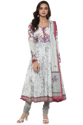 Womens Round Neck Printed Churidar Suit
