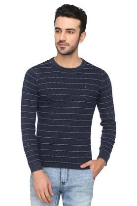 LOUIS PHILIPPE JEANSMens Round Neck Striped Sweater