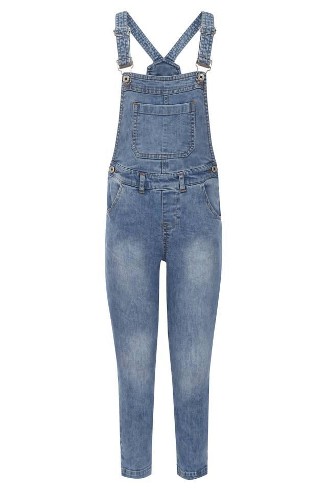Girls Square Neck Mild Wash Dungarees