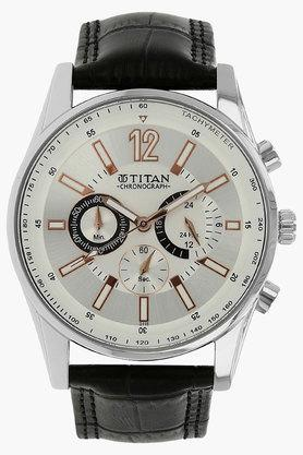 TITANMens Silver Dial Leather Watch - NH9322SL01E