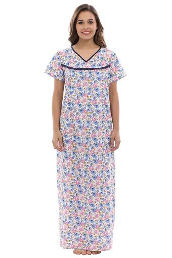 Maternity V-Neck Floral Print Night Gown