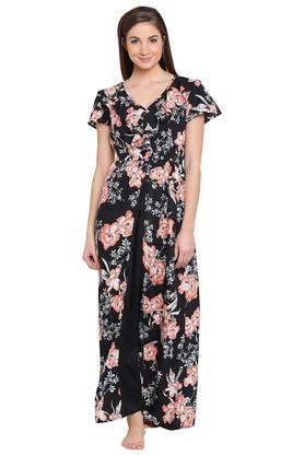 2df748453f X CLOVIA Womens V Neck Floral Print Night Gown