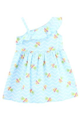 Girls One Shoulder Neck Chevron Pineapple Print A-Line Dress
