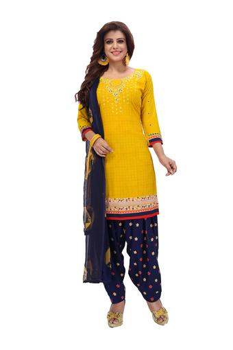 Womens Self Printed Unstitched Salwar Suit Dress Material with Dupatta