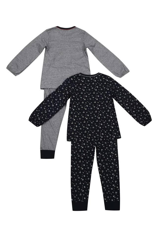 Girls Round Neck Printed Slub Pants and Top - Set of 2
