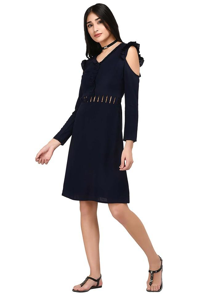 Womens Cold Shoulder Sleeves Solid A-Line Dress