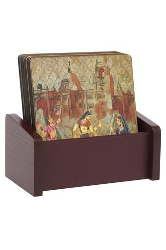 Rajasthani Printed Coasters with Holder Set of 6