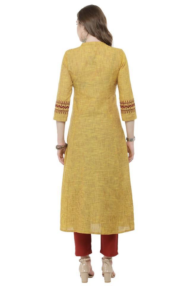 Women Cotton Solid Anarkali Kurta