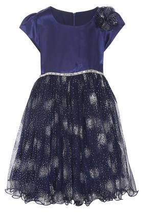 Girls Round Neck Lace Flared Dress