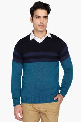 STOP Mens V Neck Colour Block Sweater