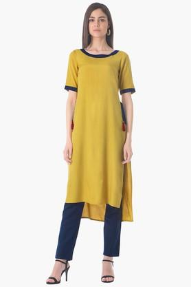 INDYA Womens Round Neck Solid Regular Fit Kurta - 203316686