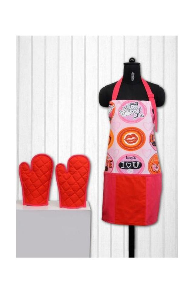 Printed Kitchen Aprons and Potholders Set of 3