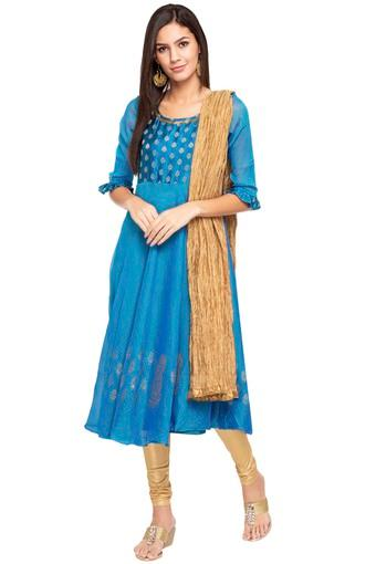 Womens Round Neck Solid Gold Woven Churidar Suit