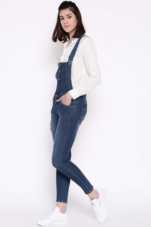 Womens 5 Pocket Washed Dungarees