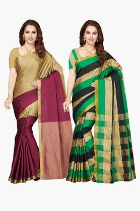 ISHIN Womens Bhagalpuri Art Silk Printed Saree - Set Of 2 - 203260380