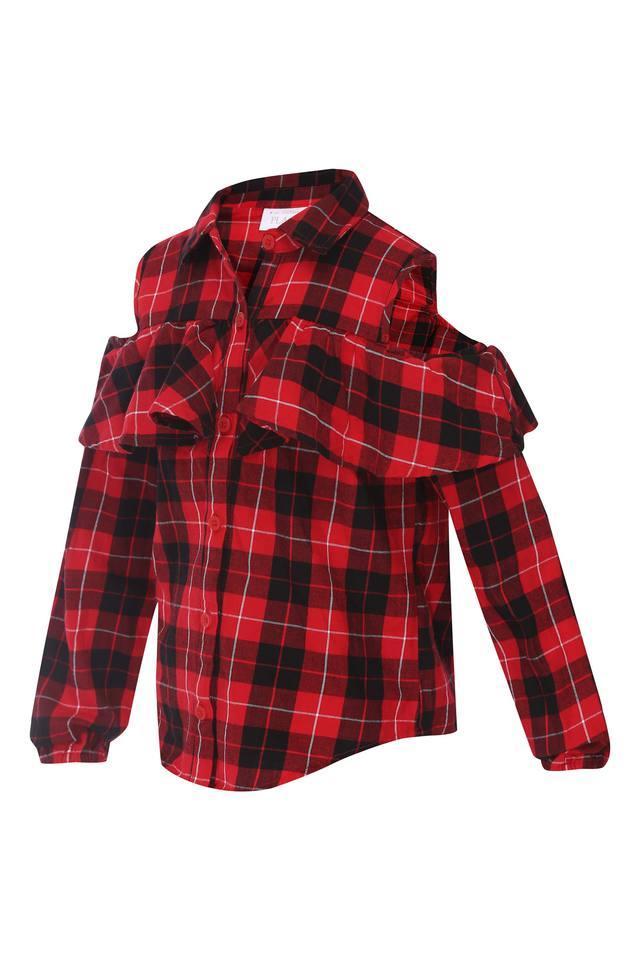 Girls Cold Shoulder Checked Shirt