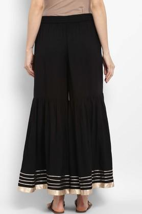 Womens Solid Sharara Pants