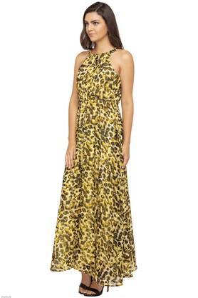 Womens Halter Neck Printed Maxi Dress