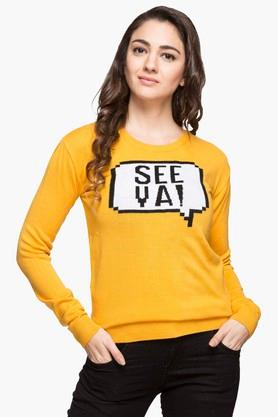 LIFEWomens Round Neck Printed Sweatshirt