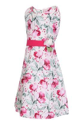 Girls Round Neck Floral Print A-Line Dress