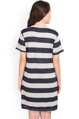 Womens Round Neck Striped Night Dress