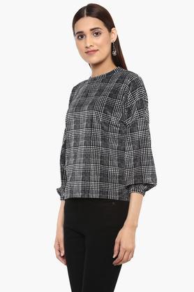 Womens Round Neck Houndstooth Sweatshirt