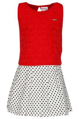 892d363d2e56 X PEPPERMINT Girls Round Neck Lace Top and Skirt
