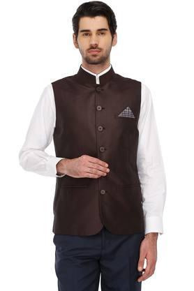 Mens Mao Collar Printed Slim Fit Nehru Jacket