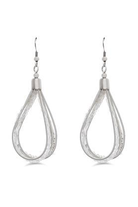 Womens Sliver Plated Beads Drop Earrings