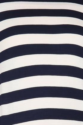 Womens Round Neck Tie Up Striped Top